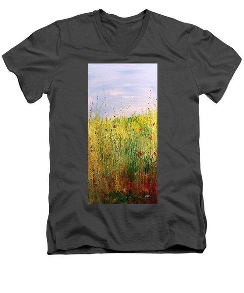 Field Of Wild Flowers Men's V-Neck T-Shirt