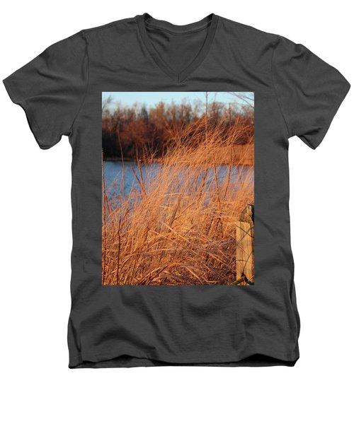 Amber Brush On The River Men's V-Neck T-Shirt
