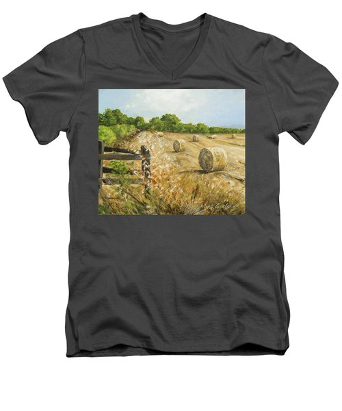 Fields Of Hay Men's V-Neck T-Shirt by Marty Garland