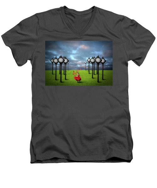 Men's V-Neck T-Shirt featuring the digital art Fields Of Time by Nathan Wright