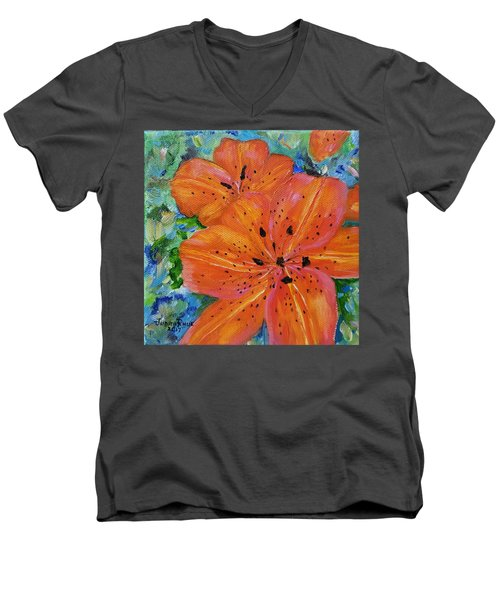 Men's V-Neck T-Shirt featuring the painting Fierce Tiger by Judith Rhue