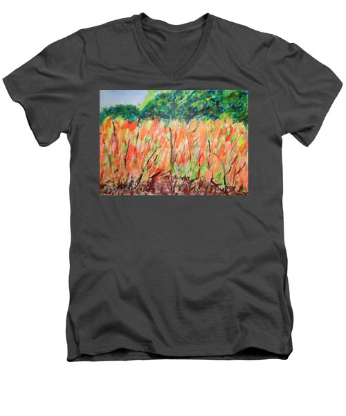 Men's V-Neck T-Shirt featuring the painting Fiery Bushes by Esther Newman-Cohen