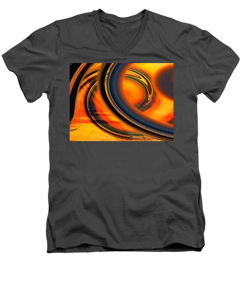 Men's V-Neck T-Shirt featuring the photograph Fiery Celestial Rings  by Shawna Rowe
