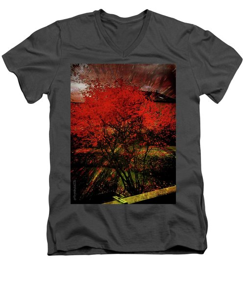 Men's V-Neck T-Shirt featuring the photograph Fiery Dance by Mimulux patricia no No