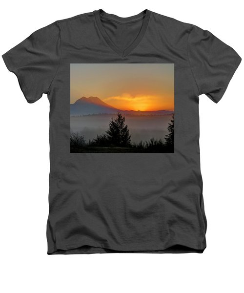 Men's V-Neck T-Shirt featuring the photograph Fiery Fall Sunrise by Peter Mooyman