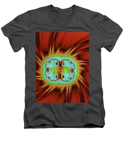 Fiery Glow Men's V-Neck T-Shirt by Rajiv Chopra