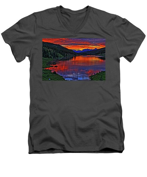 Men's V-Neck T-Shirt featuring the photograph Fiery Lake by Scott Mahon