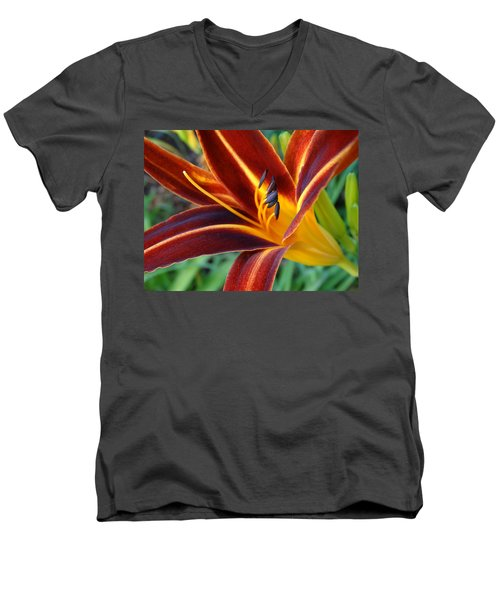 Fiery Lilies In Bloom Men's V-Neck T-Shirt by Rebecca Overton