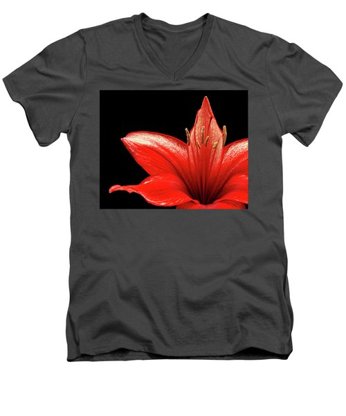 Men's V-Neck T-Shirt featuring the photograph Fiery Red by Judy Vincent