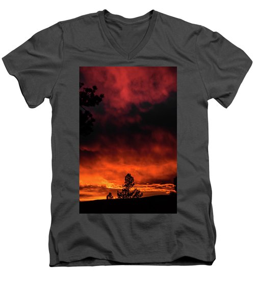 Fiery Sky Men's V-Neck T-Shirt by Jason Coward