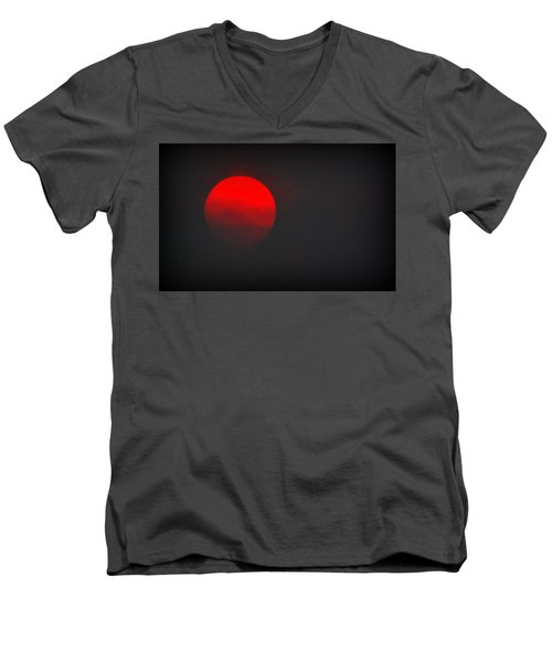 Men's V-Neck T-Shirt featuring the photograph Fiery Sun by AJ Schibig