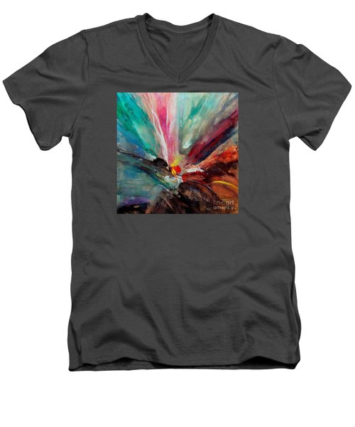 Men's V-Neck T-Shirt featuring the painting Fiesta  by Dragica  Micki Fortuna