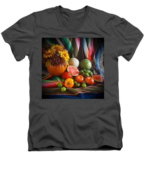 Men's V-Neck T-Shirt featuring the painting Fiesta Fall Harvest by Marilyn Smith