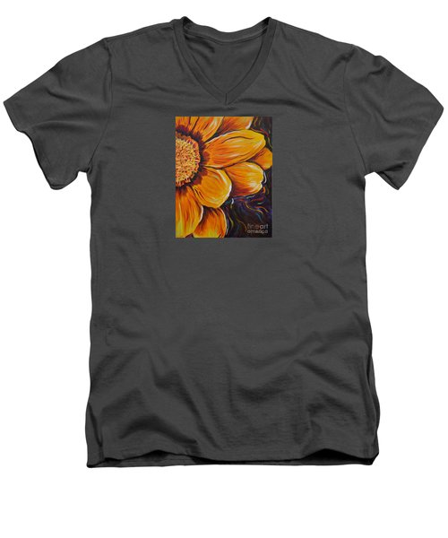Men's V-Neck T-Shirt featuring the painting Fiesta Of Courage by Lisa Fiedler Jaworski