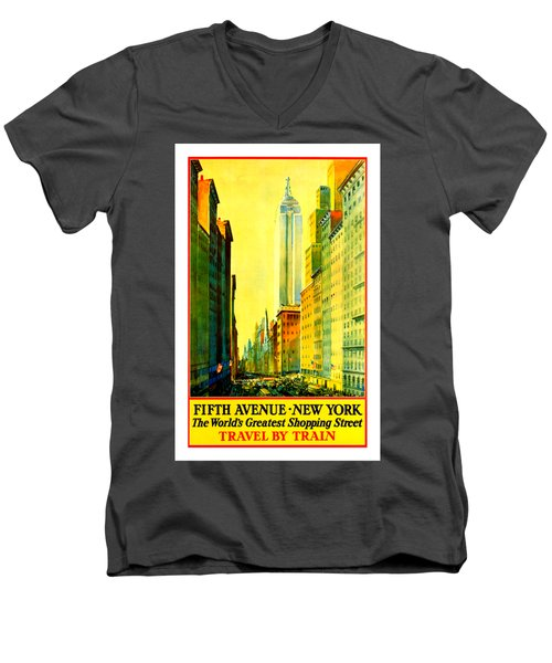 Fifth Avenue New York Travel By Train 1932 Frederick Mizen Men's V-Neck T-Shirt by Peter Gumaer Ogden Collection