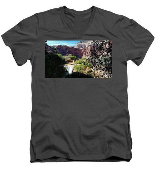 Fifty Falls And Havasupai Falls Havasupai Indian Reservation Men's V-Neck T-Shirt by Joseph Hendrix