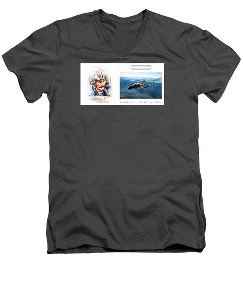 Robin Olds Fighter Pilot Men's V-Neck T-Shirt