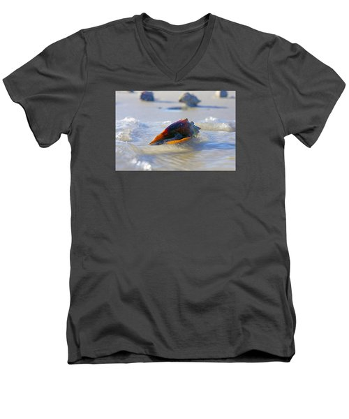 Men's V-Neck T-Shirt featuring the photograph Fighting Conch On Beach by Robb Stan