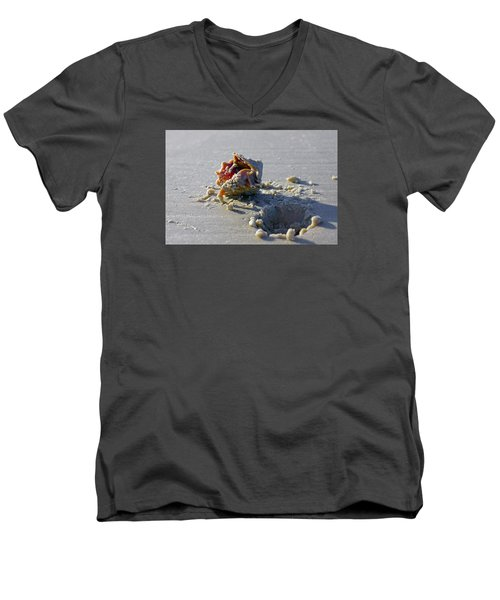 Men's V-Neck T-Shirt featuring the photograph Fighting Conch On The Beach by Robb Stan