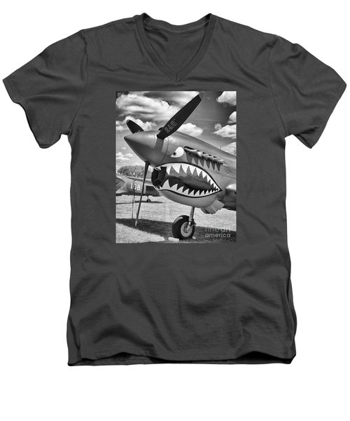 Men's V-Neck T-Shirt featuring the photograph Fighting Tiger by Ricky L Jones