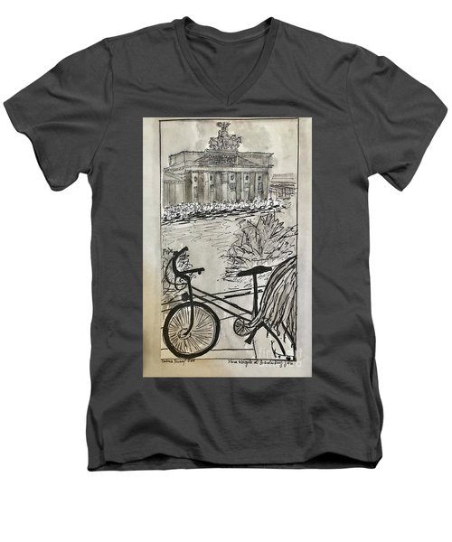 Fina And Bicycle At Brandenburg Gate Men's V-Neck T-Shirt
