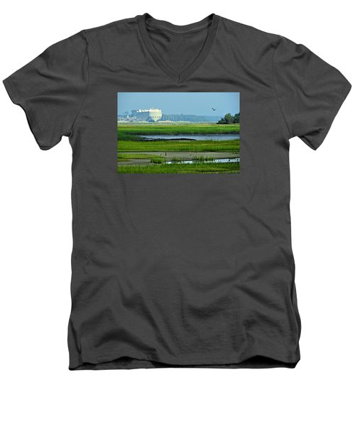 Men's V-Neck T-Shirt featuring the photograph Finding Balance by Laura Ragland