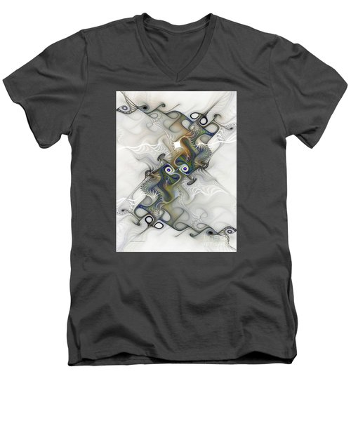 Men's V-Neck T-Shirt featuring the digital art Fine Traces by Karin Kuhlmann