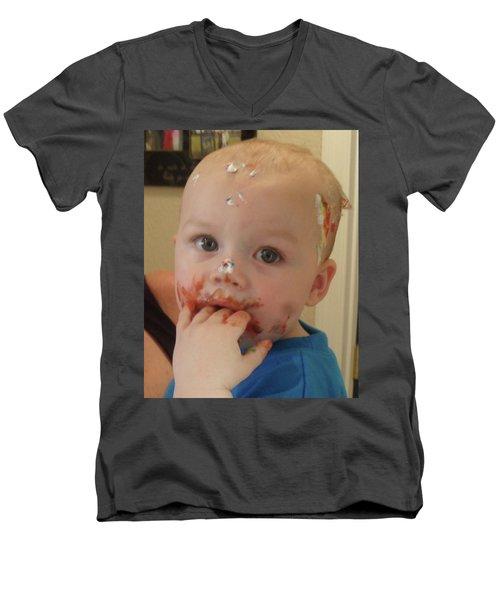 Finger Lickin Good Men's V-Neck T-Shirt by Val Oconnor