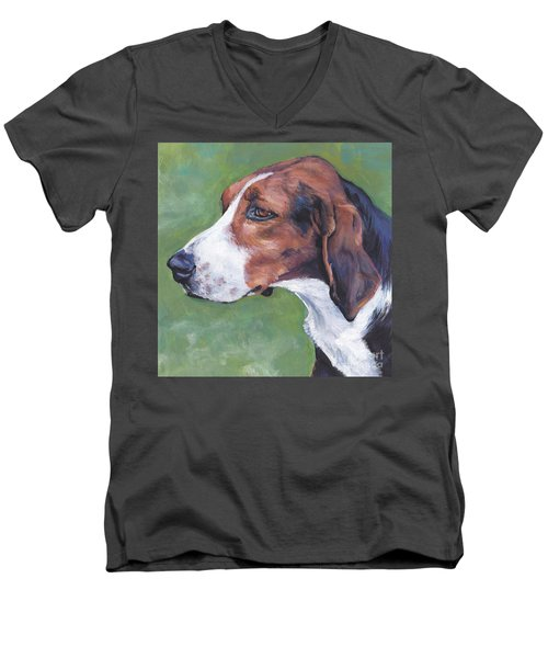 Men's V-Neck T-Shirt featuring the painting Finnish Hound by Lee Ann Shepard