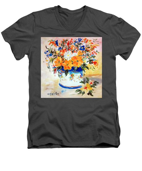 Men's V-Neck T-Shirt featuring the painting Fiori Gialli Natura Morta by Roberto Gagliardi