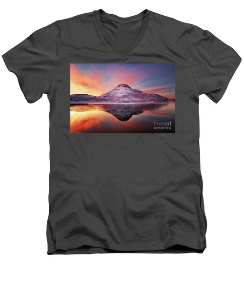 Fire And Ice - Flatiron Reservoir, Loveland Colorado Men's V-Neck T-Shirt by Ronda Kimbrow