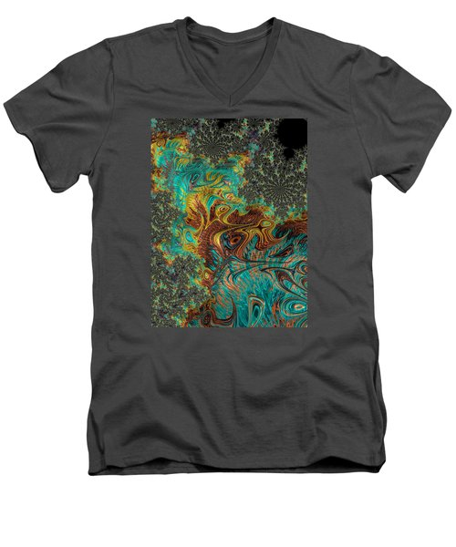 Men's V-Neck T-Shirt featuring the photograph Fire And Ice by Ronda Broatch