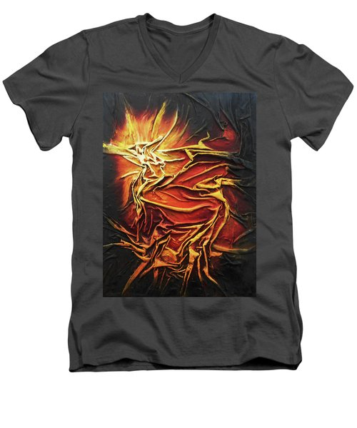 Fire Men's V-Neck T-Shirt by Angela Stout