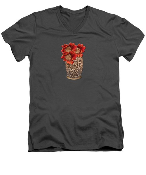 Men's V-Neck T-Shirt featuring the photograph Fire Brick Flora Vase by Rockin Docks Deluxephotos