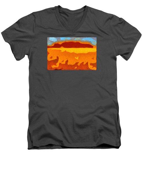Men's V-Neck T-Shirt featuring the digital art Fire Hill by Spyder Webb