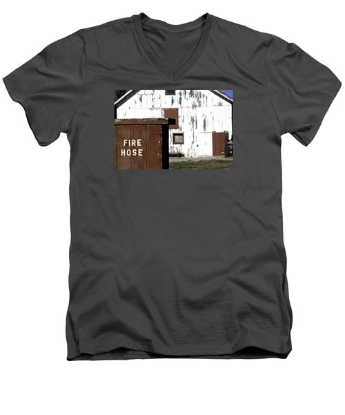 Men's V-Neck T-Shirt featuring the photograph Fire Hose by Lora Lee Chapman
