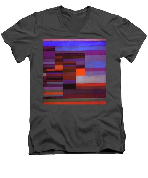 Fire In The Evening Men's V-Neck T-Shirt by Paul Klee
