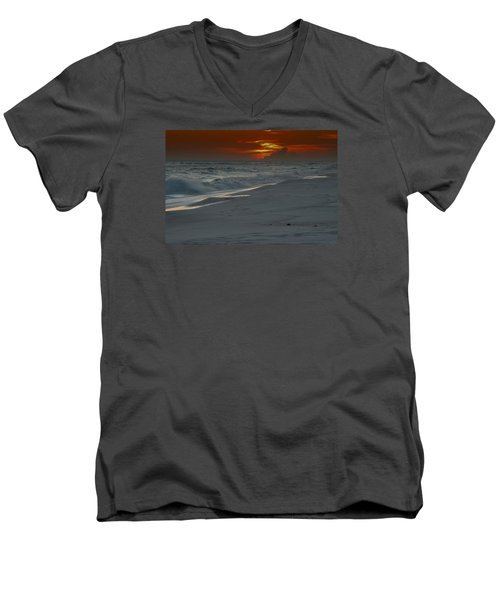 Men's V-Neck T-Shirt featuring the photograph Fire In The Horizon by Renee Hardison