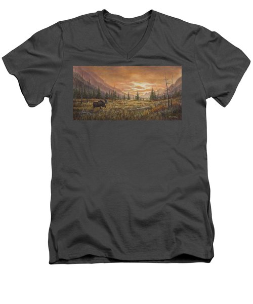 Men's V-Neck T-Shirt featuring the painting Fire In The Sky by Kim Lockman