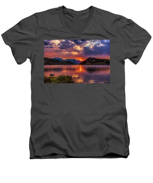 Fire On The Water Reflections Men's V-Neck T-Shirt