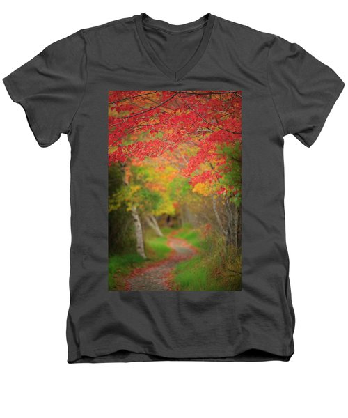 Men's V-Neck T-Shirt featuring the photograph Fire Red Path  by Emmanuel Panagiotakis