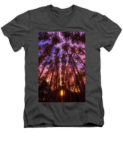 Fire Sky - Sunset At Retzer Nature Center - Waukesha Wisconsin Men's V-Neck T-Shirt by Jennifer Rondinelli Reilly - Fine Art Photography