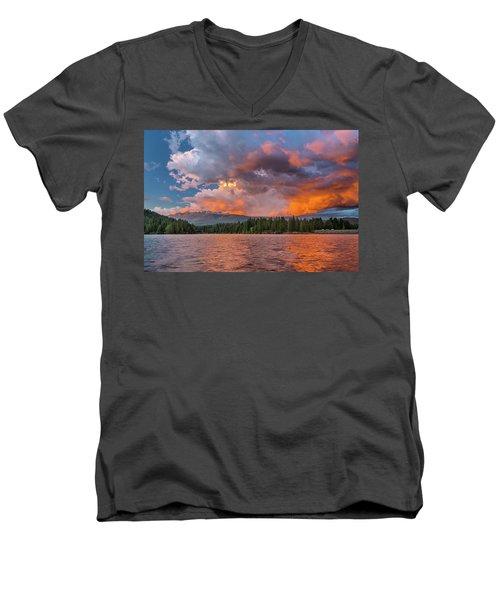 Fire Sunset Over Shasta Men's V-Neck T-Shirt