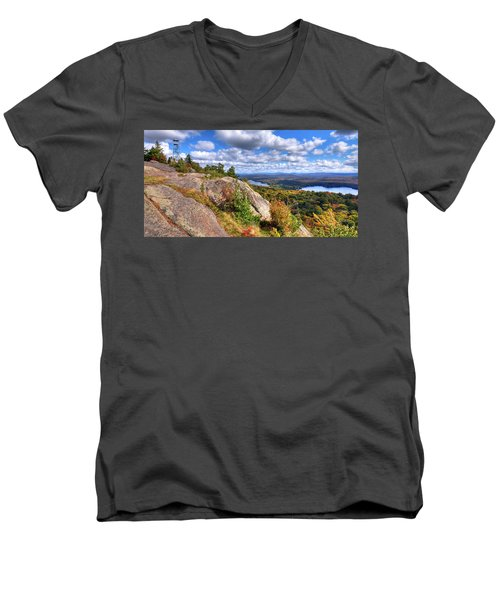 Fire Tower On Bald Mountain Men's V-Neck T-Shirt