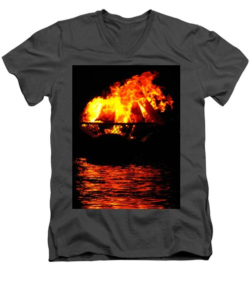 Fire Water Illuminates The Night Men's V-Neck T-Shirt