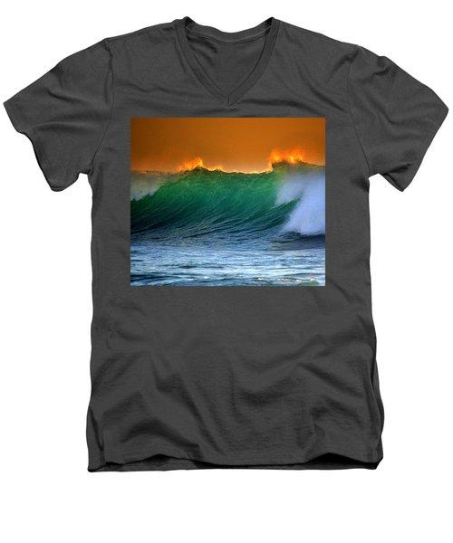 Fire Wave Men's V-Neck T-Shirt by Lori Seaman