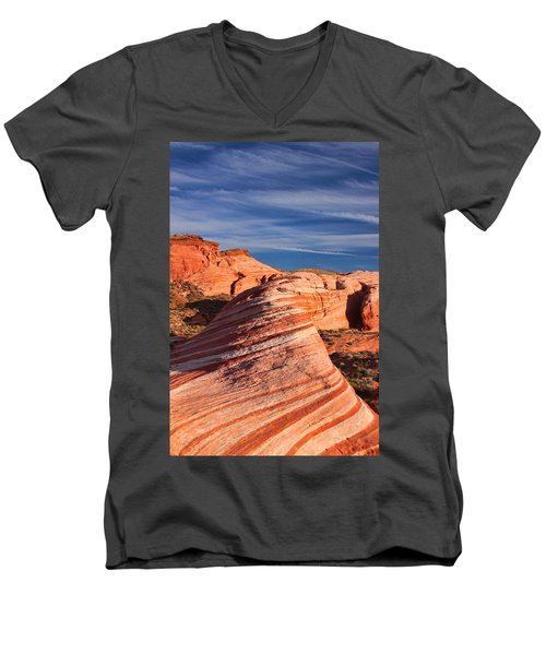 Men's V-Neck T-Shirt featuring the photograph Fire Wave by Tammy Espino