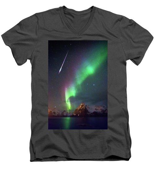 Fireball In The Aurora Men's V-Neck T-Shirt by Alex Conu