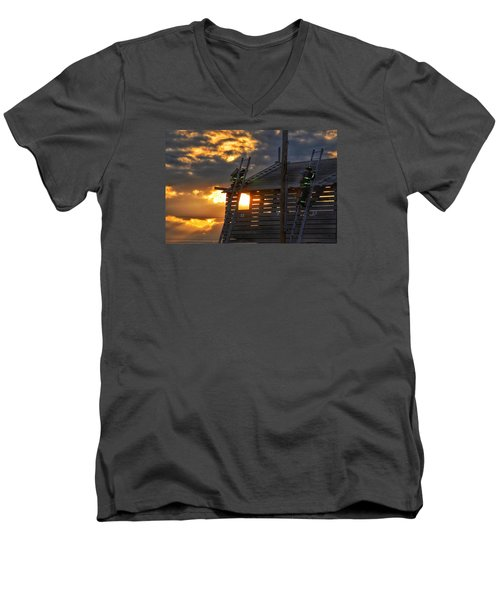Men's V-Neck T-Shirt featuring the photograph Firefighters In Training by Nikki McInnes