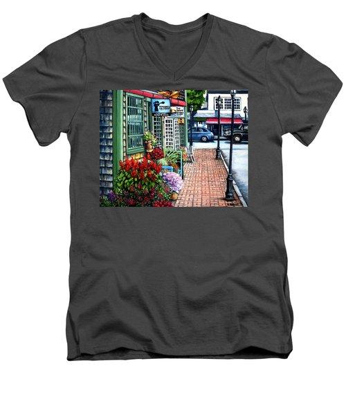 Firefly Lane Bar Harbor Maine Men's V-Neck T-Shirt by Eileen Patten Oliver